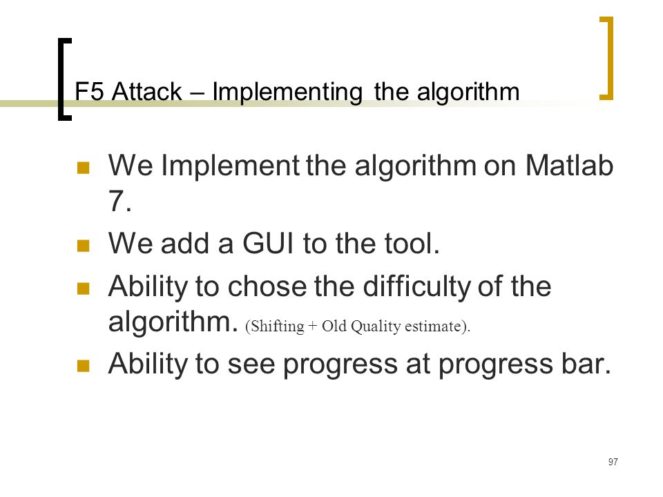 F5 Attack – Implementing the algorithm