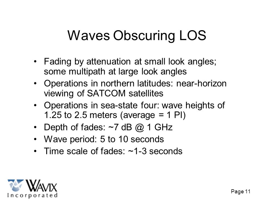 Waves Obscuring LOS Fading by attenuation at small look angles; some multipath at large look angles.