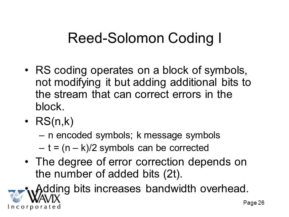 Reed-Solomon Coding I