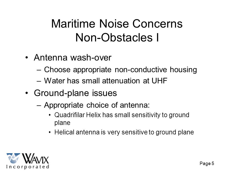 Maritime Noise Concerns Non-Obstacles I