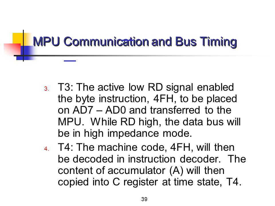 MPU Communication and Bus Timing