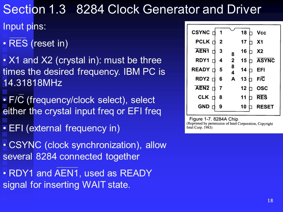 Section 1.3 8284 Clock Generator and Driver