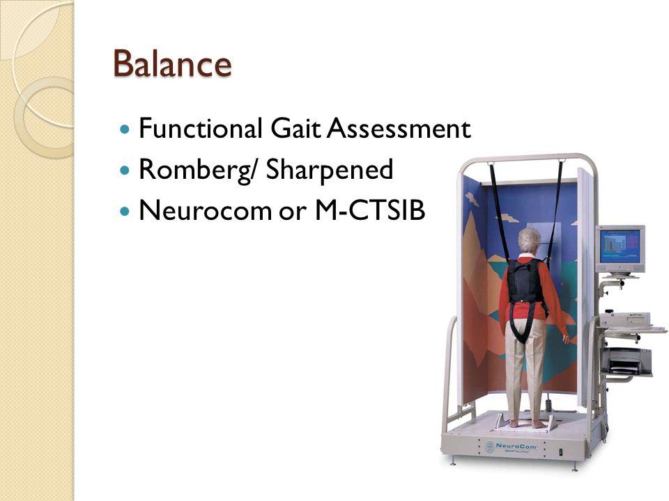 Balance Functional Gait Assessment Romberg/ Sharpened