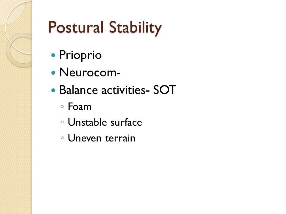 Postural Stability Prioprio Neurocom- Balance activities- SOT Foam