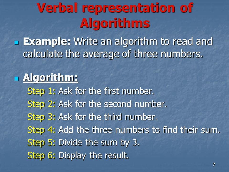 Verbal representation of Algorithms