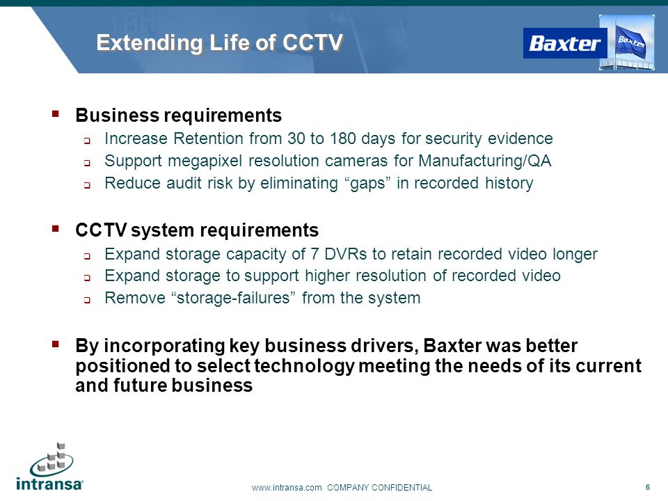 Extending Life of CCTV Business requirements CCTV system requirements