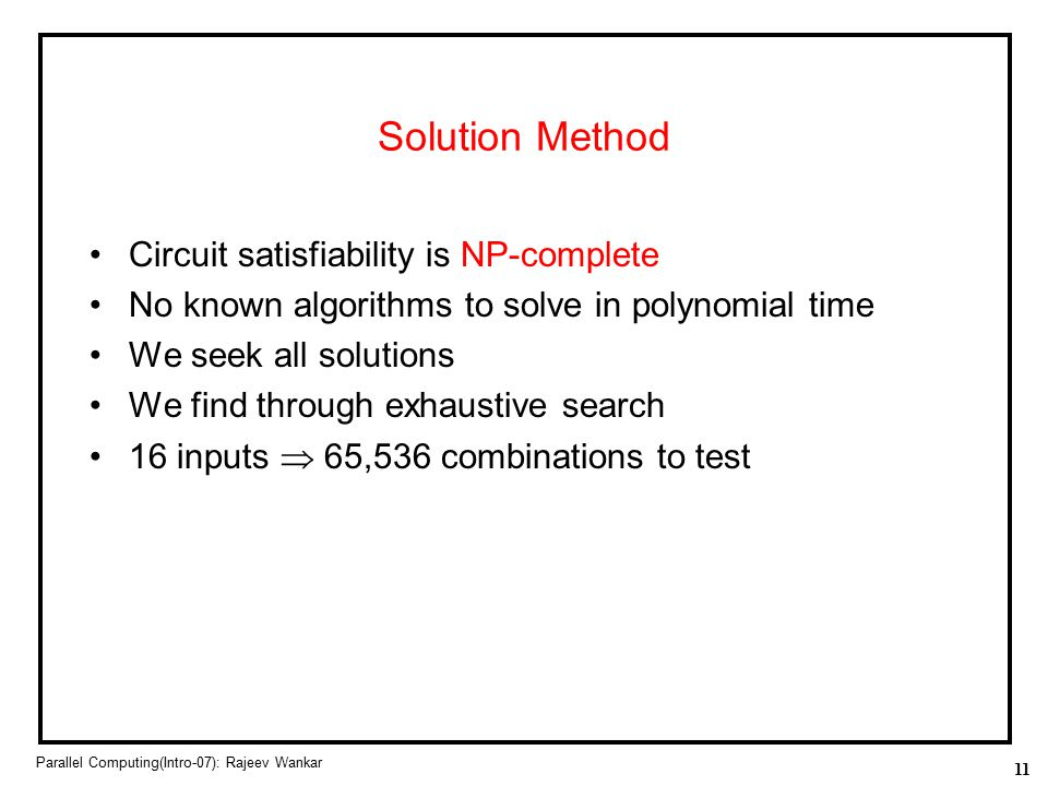 Solution Method Circuit satisfiability is NP-complete