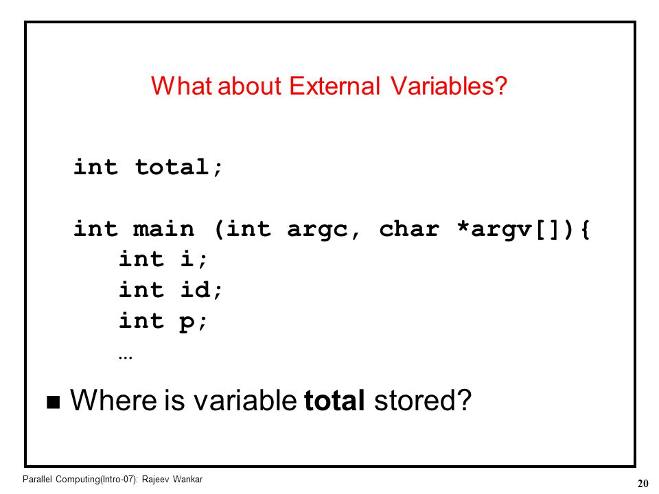 What about External Variables