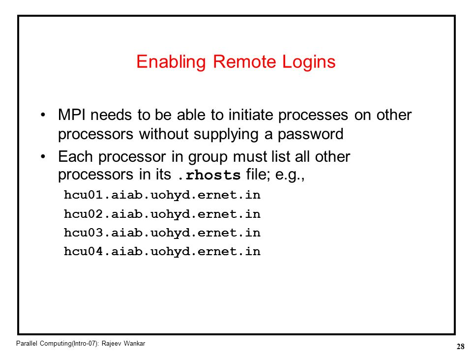 Enabling Remote Logins