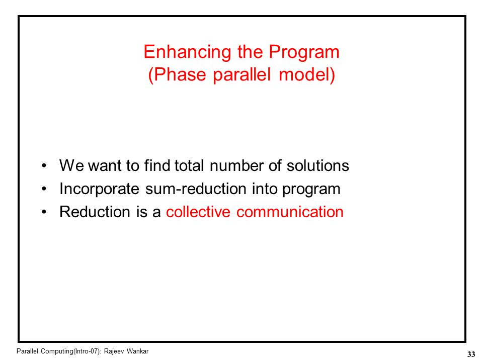 Enhancing the Program (Phase parallel model)