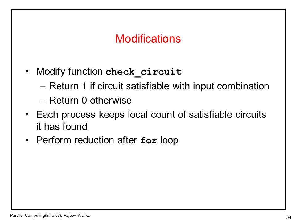 Modifications Modify function check_circuit