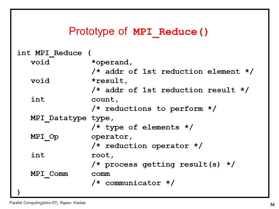 Prototype of MPI_Reduce()