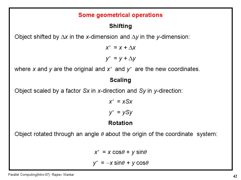 Some geometrical operations