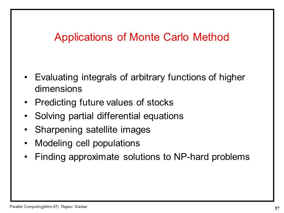 Applications of Monte Carlo Method