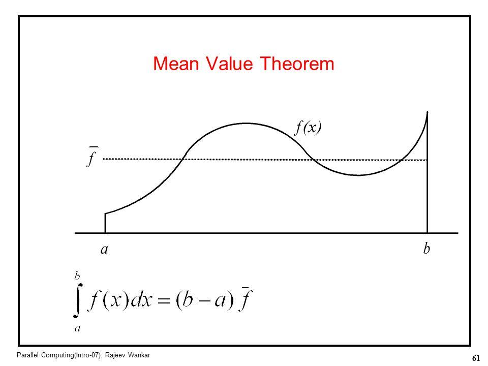 Mean Value Theorem Parallel Computing(Intro-07): Rajeev Wankar