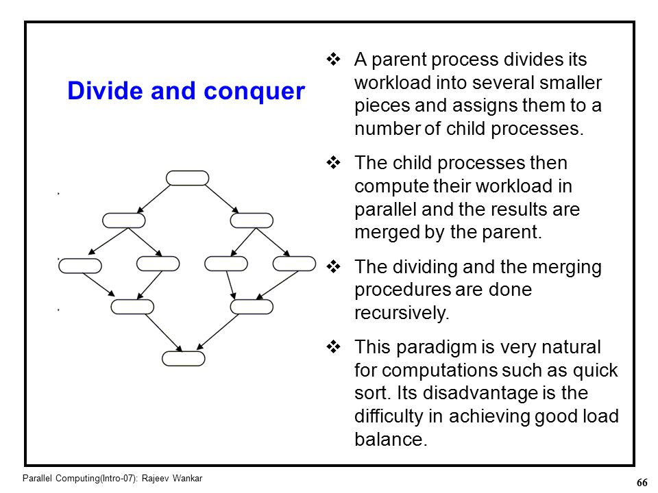 A parent process divides its workload into several smaller pieces and assigns them to a number of child processes.