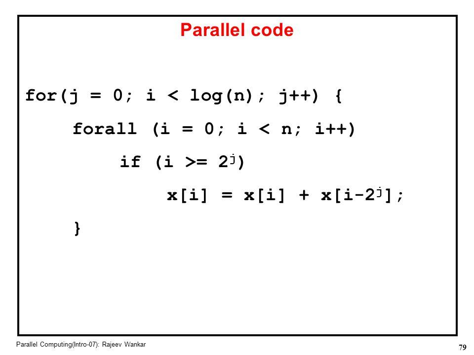 for(j = 0; i < log(n); j++) { forall (i = 0; i < n; i++)