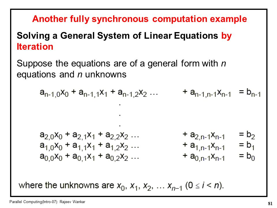 Another fully synchronous computation example