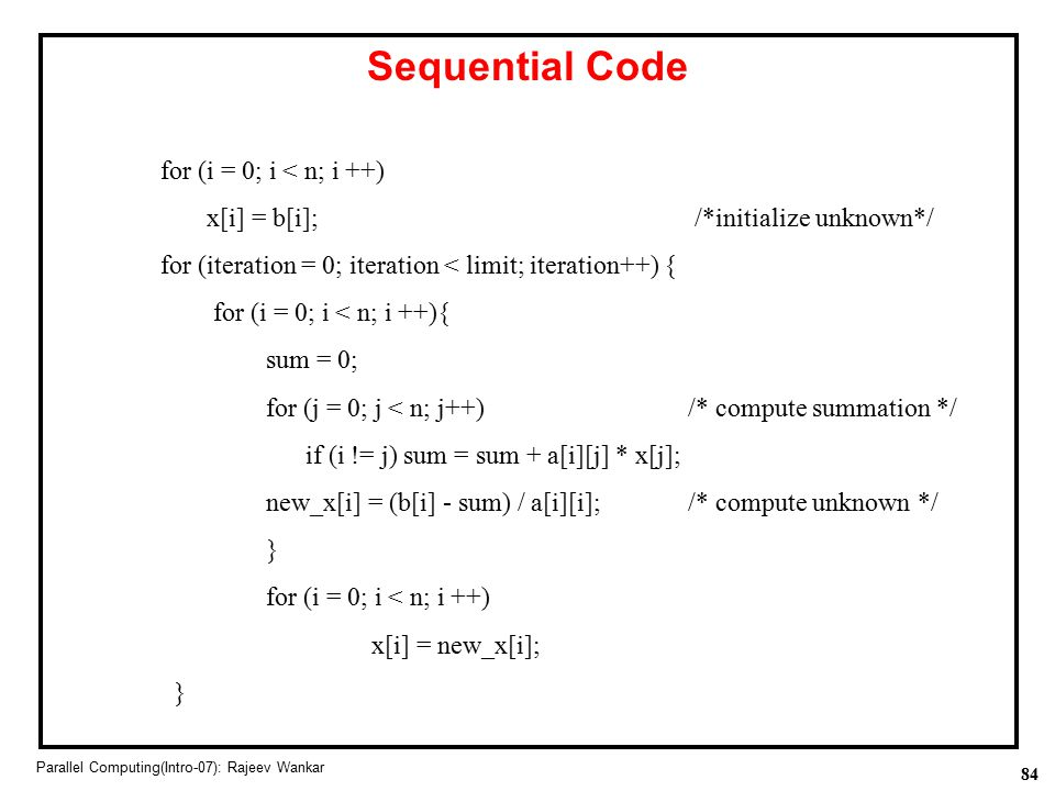 Sequential Code for (i = 0; i < n; i ++)