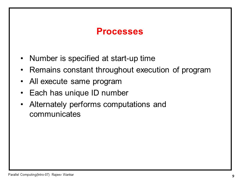 Processes Number is specified at start-up time