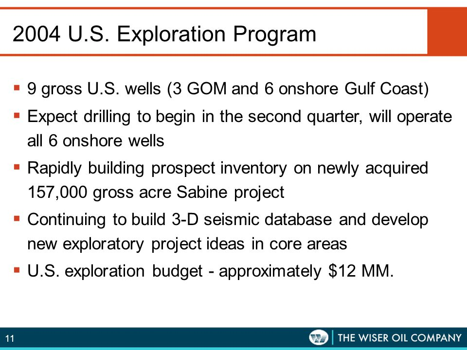 2004 U.S. Exploration Program