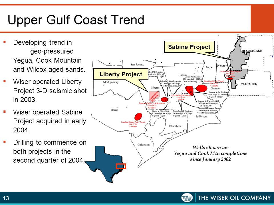 Upper Gulf Coast Trend Developing trend in geo-pressured Yegua, Cook Mountain and Wilcox aged sands.