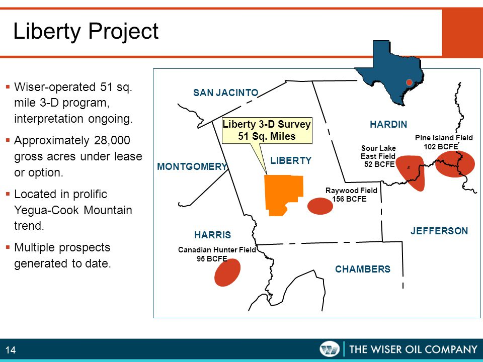 Liberty Project Wiser-operated 51 sq. mile 3-D program, interpretation ongoing. Approximately 28,000 gross acres under lease or option.