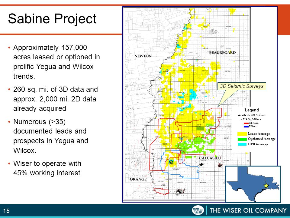 Sabine Project 3D Seismic Surveys. Legend. Available 3D Seismic. - 224 Sq Miles - El Paso. Wiser.