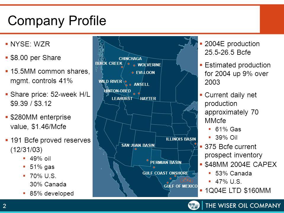 Company Profile NYSE: WZR $8.00 per Share