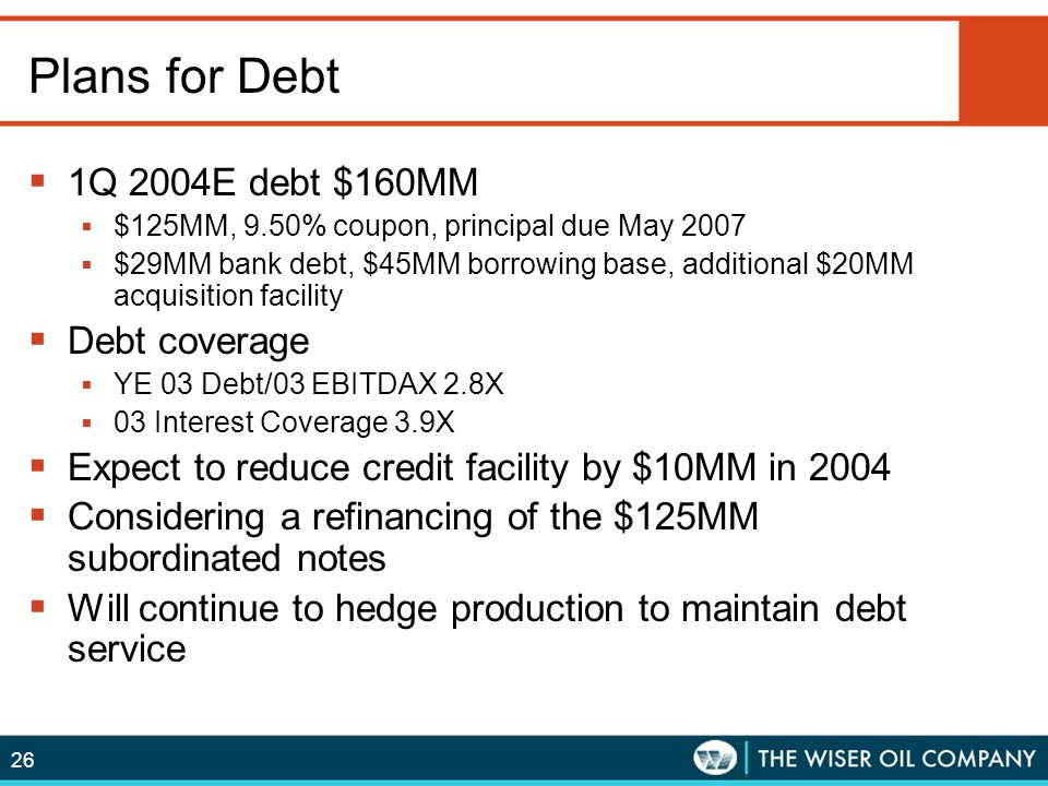 Plans for Debt 1Q 2004E debt $160MM Debt coverage