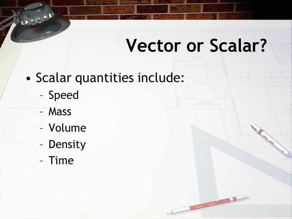 Vector or Scalar Scalar quantities include: Speed Mass Volume Density