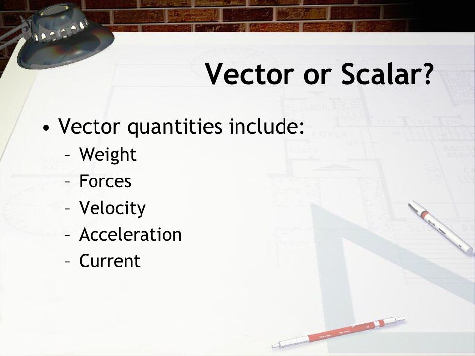 Vector or Scalar Vector quantities include: Weight Forces Velocity