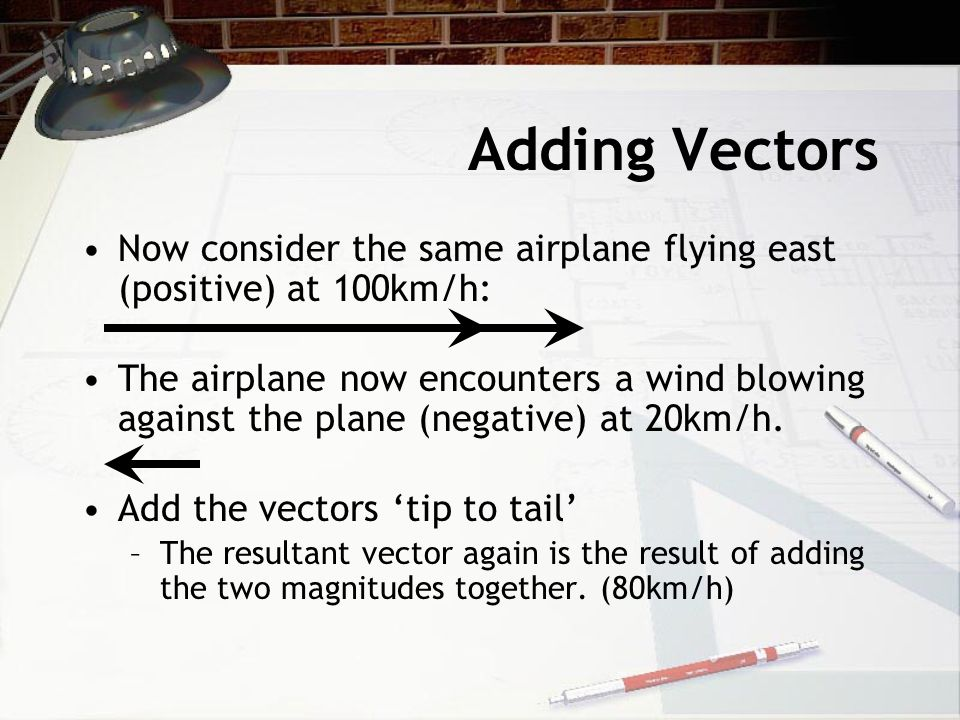 Adding Vectors Now consider the same airplane flying east (positive) at 100km/h: