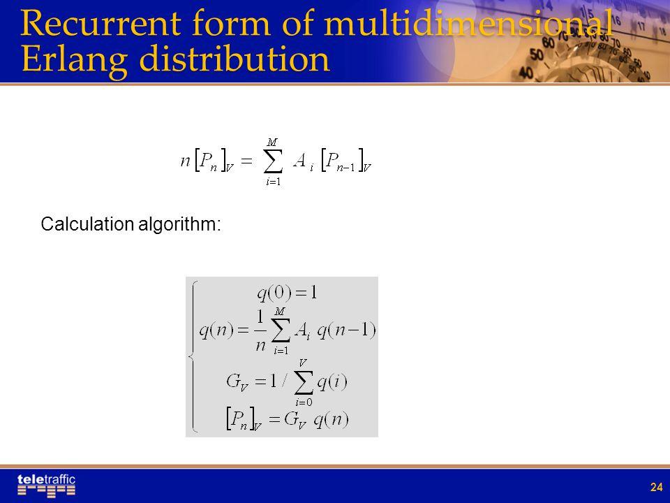 Recurrent form of multidimensional Erlang distribution