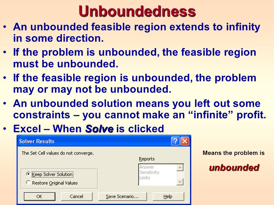 Unboundedness An unbounded feasible region extends to infinity in some direction.