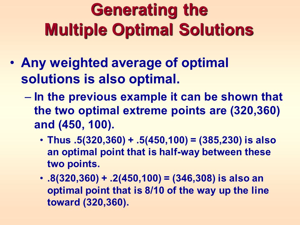 Generating the Multiple Optimal Solutions