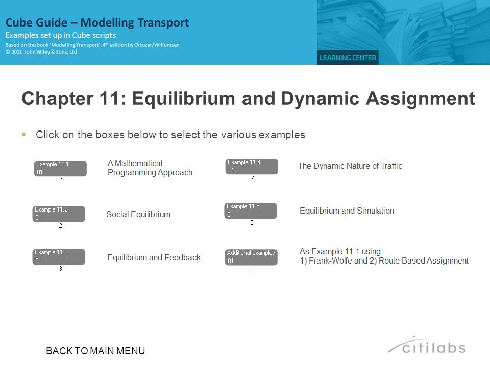 Chapter 11: Equilibrium and Dynamic Assignment