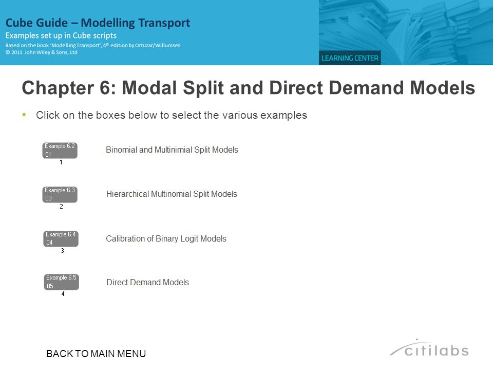 Chapter 6: Modal Split and Direct Demand Models