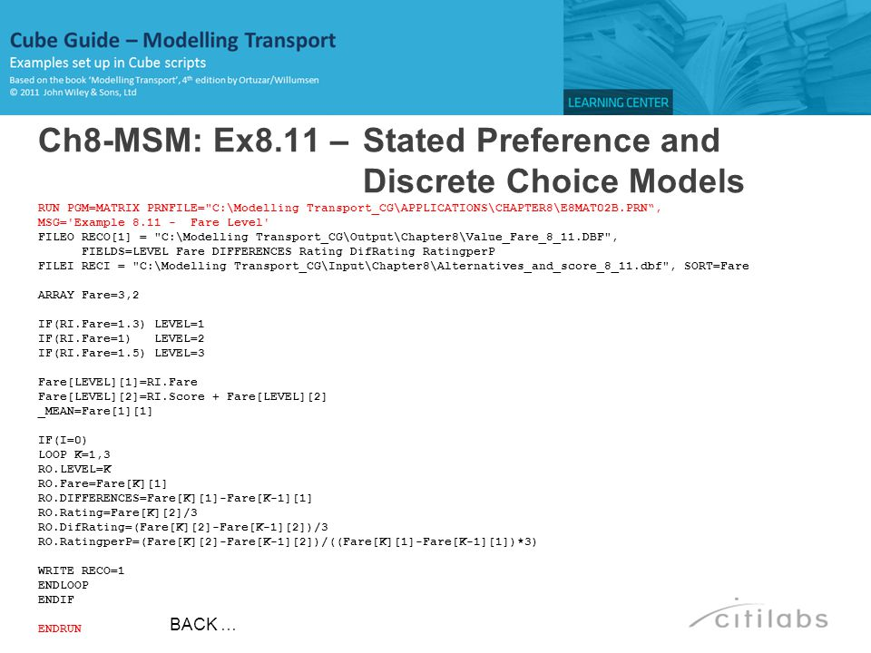 Ch8-MSM: Ex8.11 – Stated Preference and Discrete Choice Models