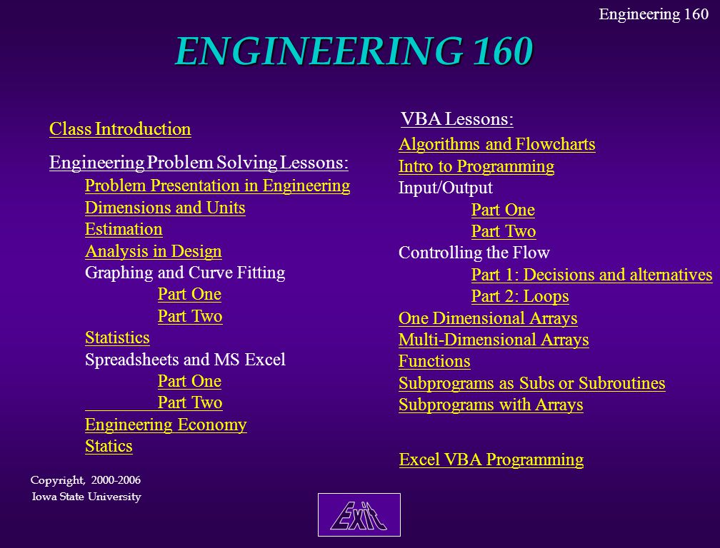 ENGINEERING 160 Exit VBA Lessons: Class Introduction