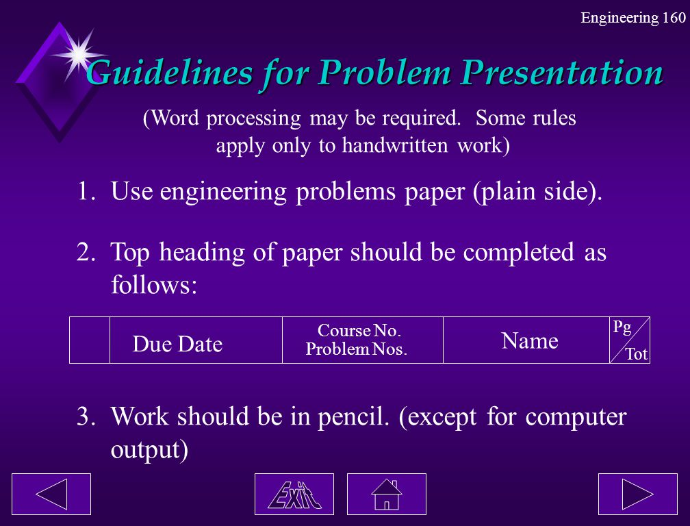 Guidelines for Problem Presentation
