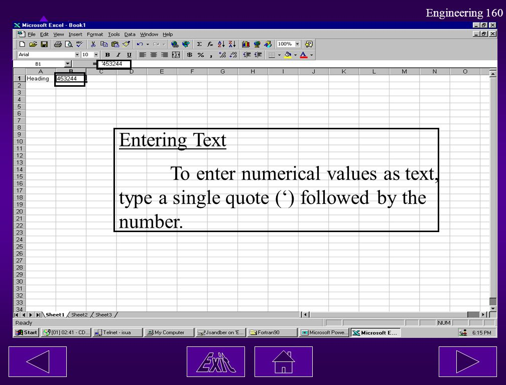 Entering Text To enter numerical values as text, type a single quote (') followed by the number.