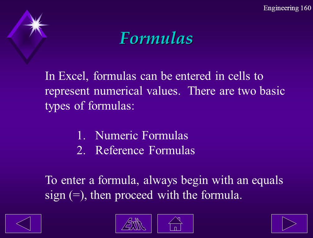Formulas In Excel, formulas can be entered in cells to