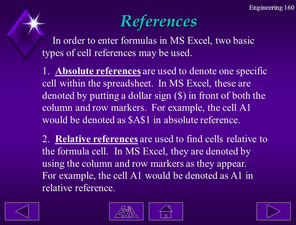 References In order to enter formulas in MS Excel, two basic
