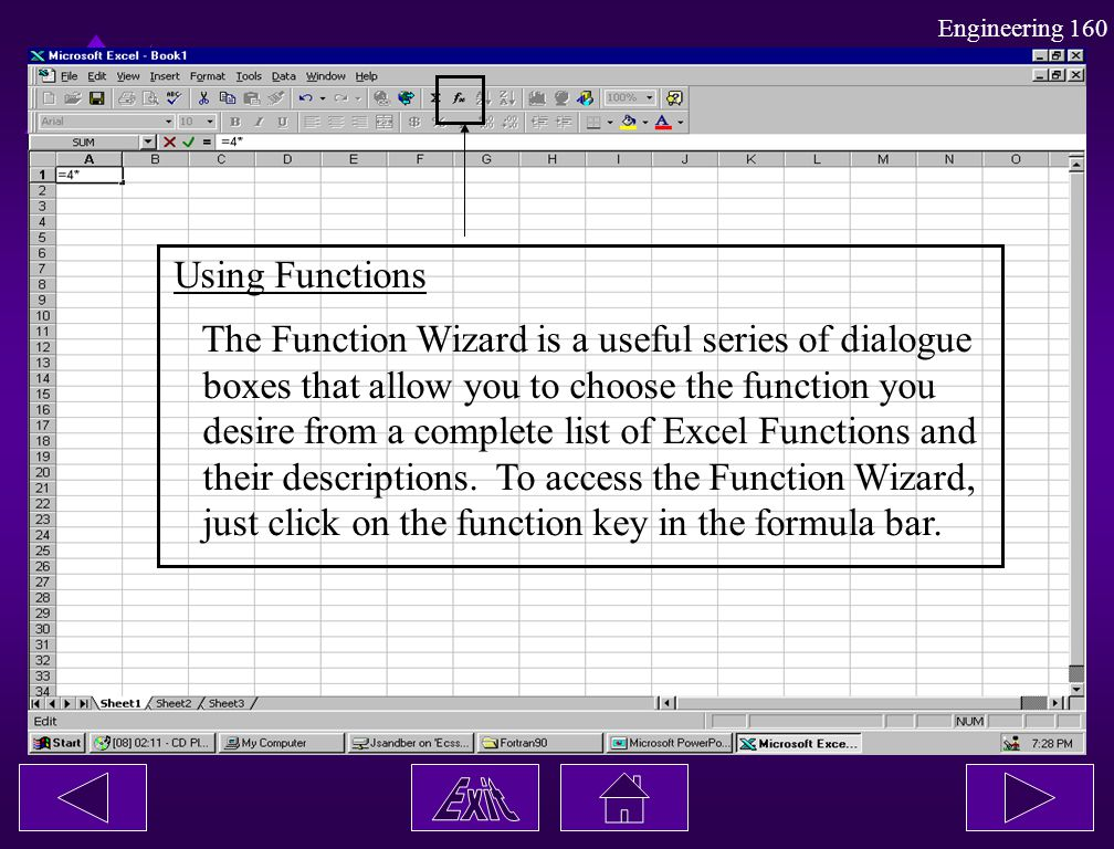 Using Functions The Function Wizard is a useful series of dialogue. boxes that allow you to choose the function you.