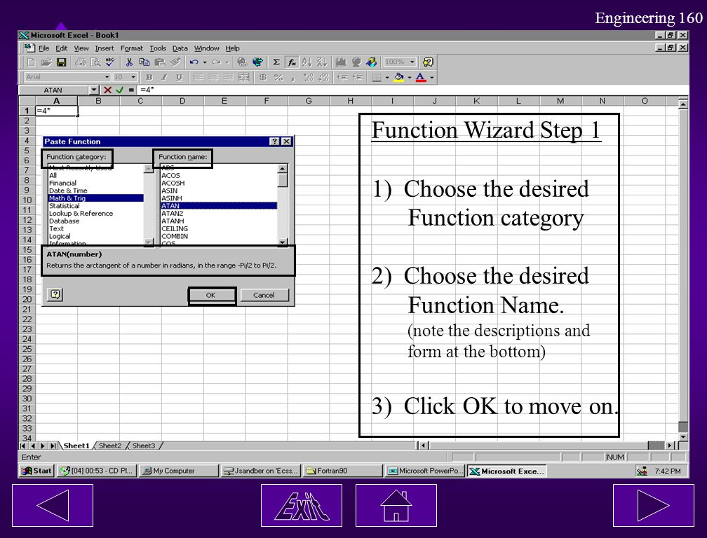 Function Wizard Step 1 1) Choose the desired Function category