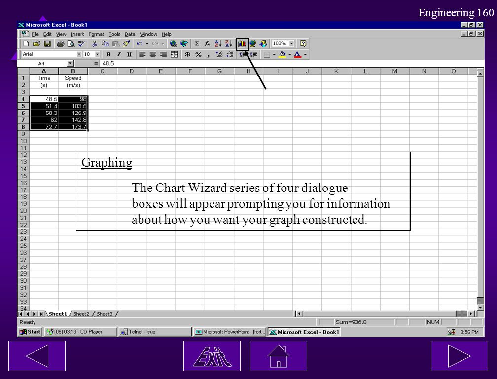 Graphing The Chart Wizard series of four dialogue. boxes will appear prompting you for information.