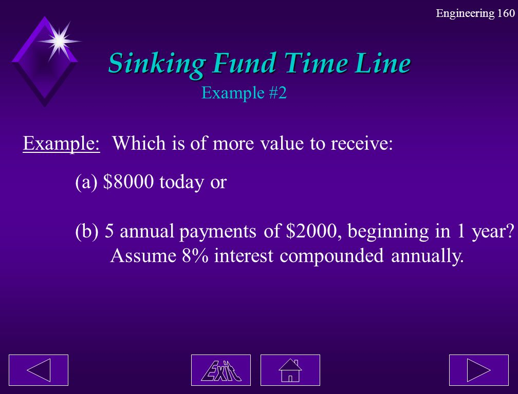 Sinking Fund Time Line Example: Which is of more value to receive: