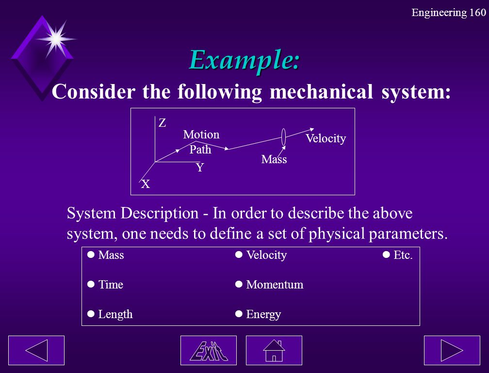 Example: Consider the following mechanical system: