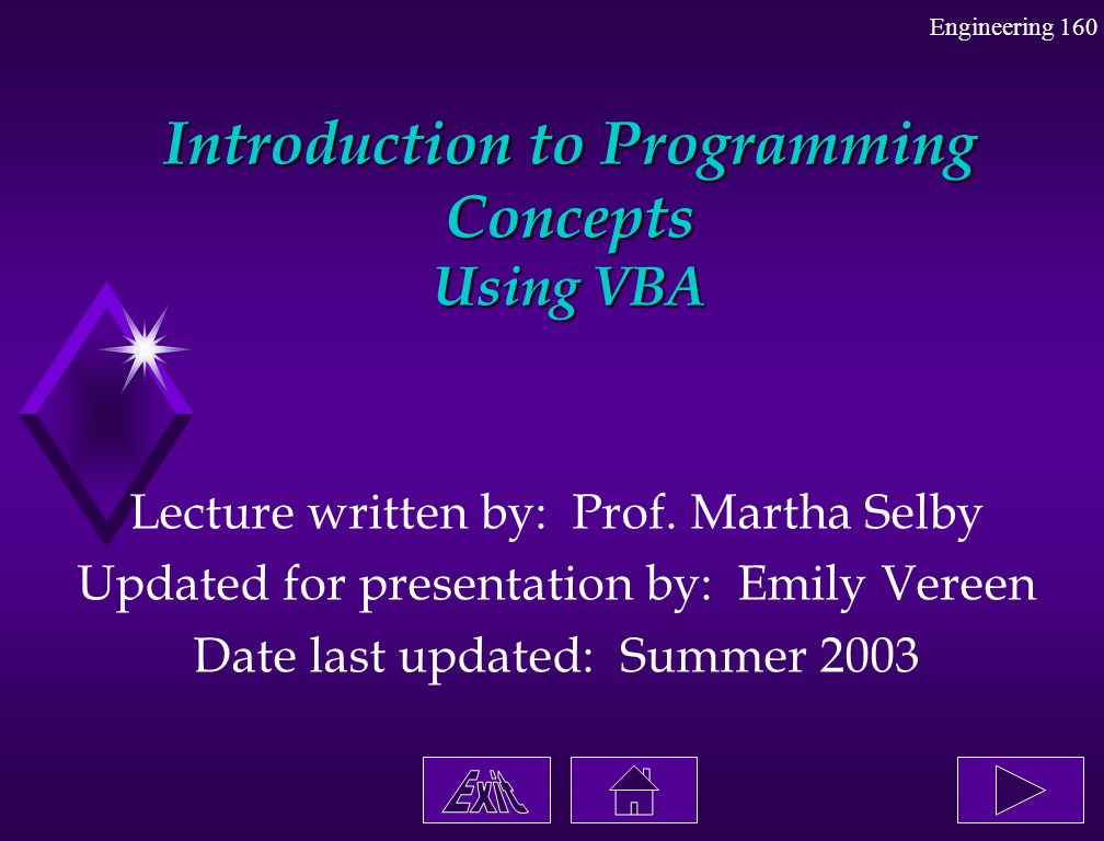 Introduction to Programming Concepts Using VBA